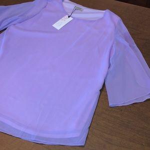 ACEVOG Purple Layered Sheer Top Shirt Blouse XL